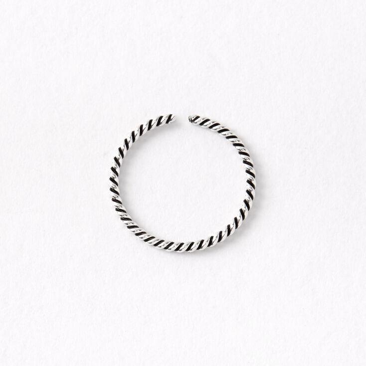 Sterling Silver 20G Braided Swirl Hoop Nose Ring,