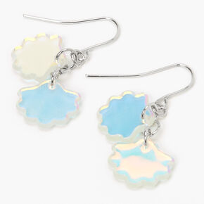 "Silver 1"" Iridescent Shell Drop Earrings,"