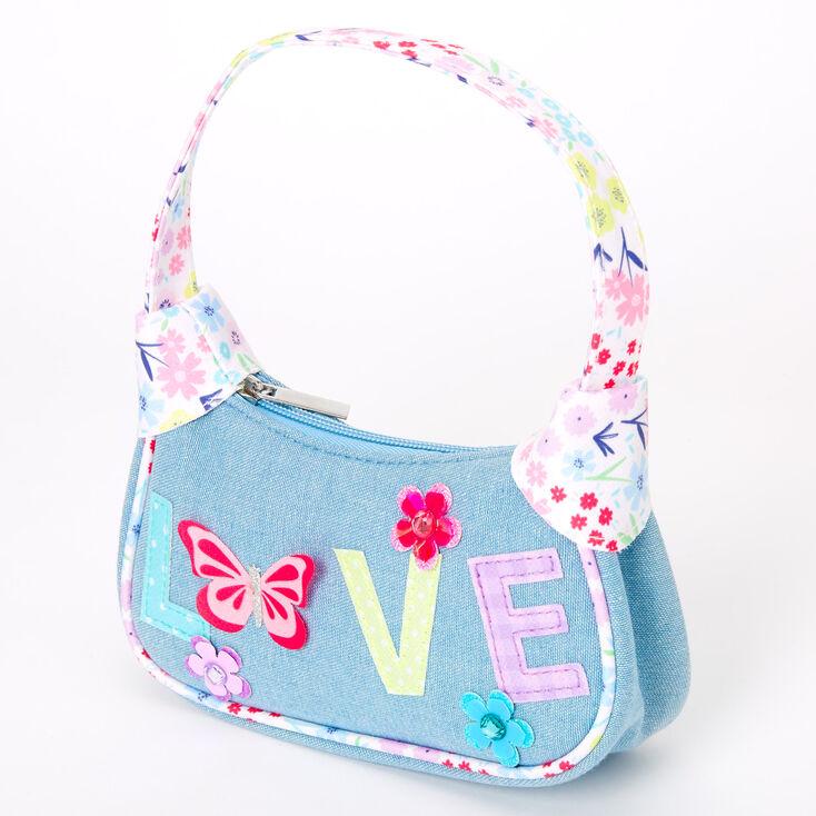 Claire's Club Floral Butterfly Denim Handbag - Blue,