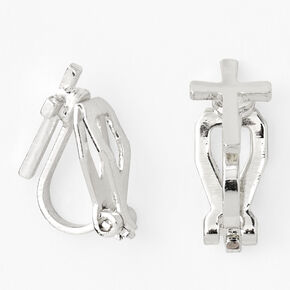 Silver Cross Clip On Stud Earrings,