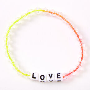 Ombre Rainbow Love Beaded Stretch Bracelet,