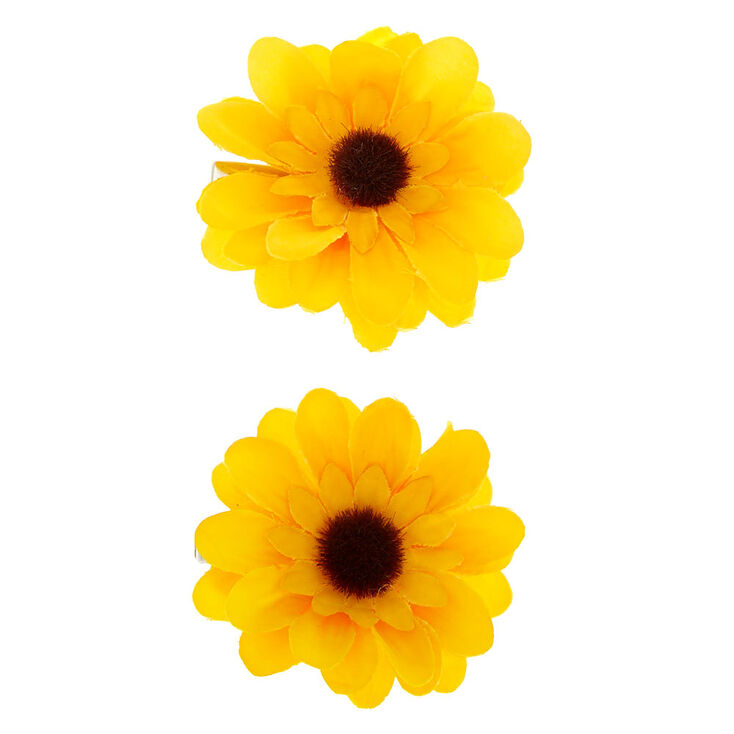 Sunflower Hair Clips - Yellow, 2 Pack,