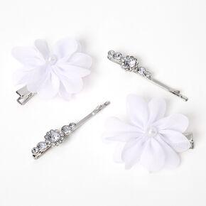 Chiffon Flower Hair Clips - White, 4 Pack,