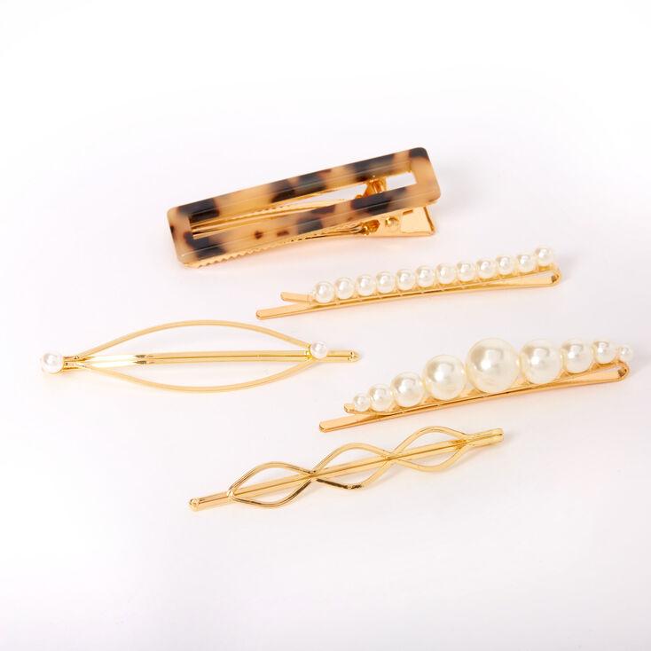 Gold Pearl Tortoiseshell Hair Pins - 5 Pack,