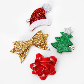 Glitter Holiday Mixed Hair Clips - 4 Pack,