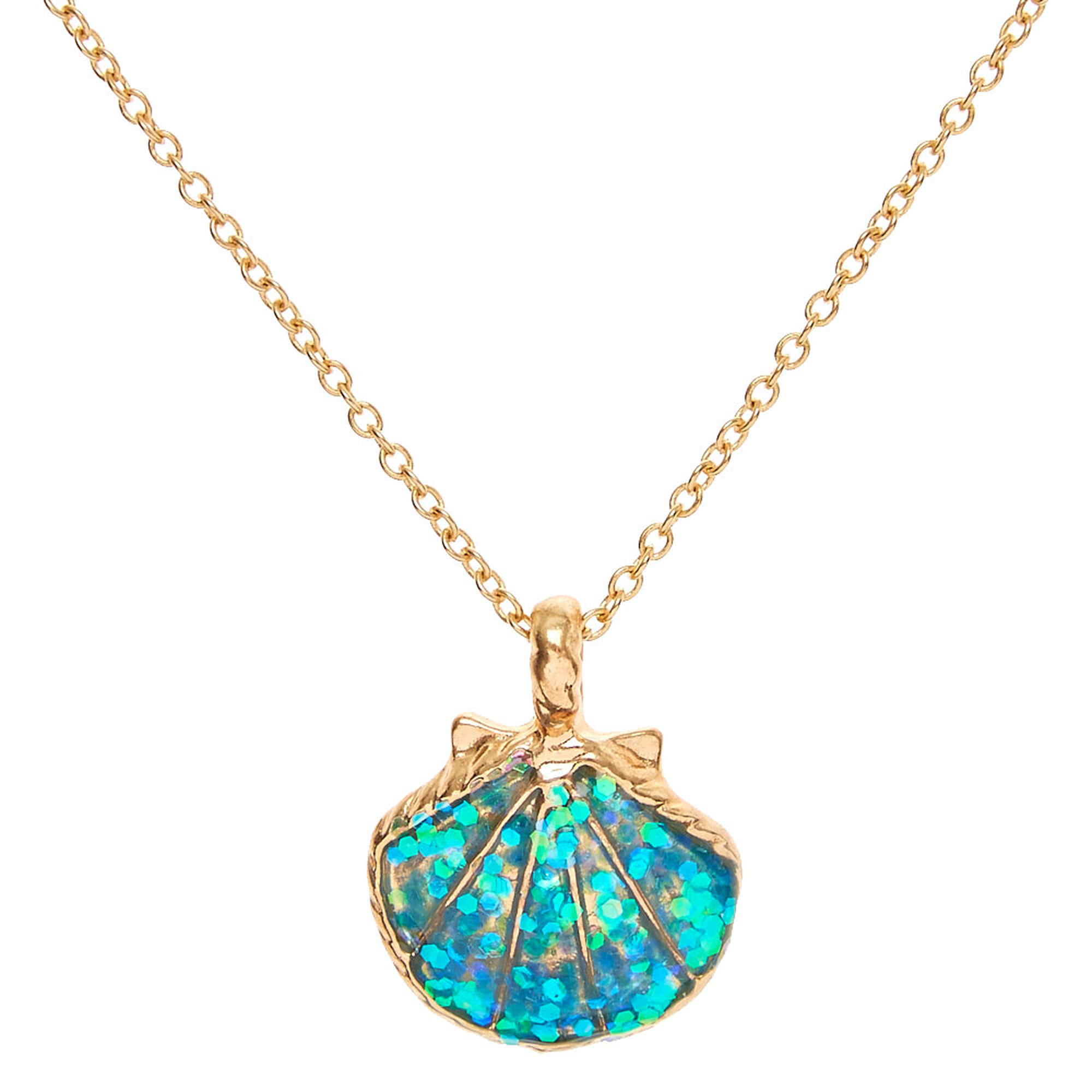 Mermaid glitter shell pendant necklace claires us mermaid glitter shell pendant necklace aloadofball Gallery
