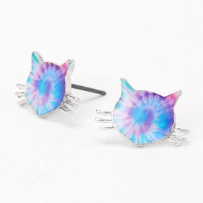 Tie Dye Kitten Stud Earrings,