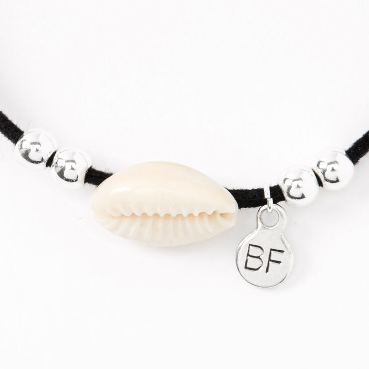 Cowrie Shell Friendship Cord Bracelets - Black, 2 Pack,