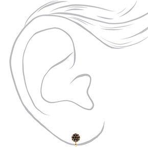 Gold Fireball Clip On Stud Earrings - Black,