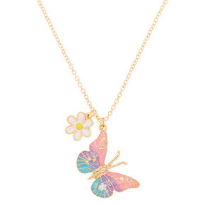 Ombre Butterfly Pendant Necklace,