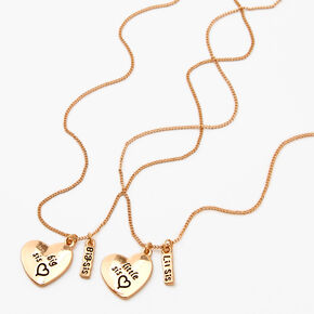 Best Friends Big & Little Sis Heart Pendant Necklaces - 2 Pack,