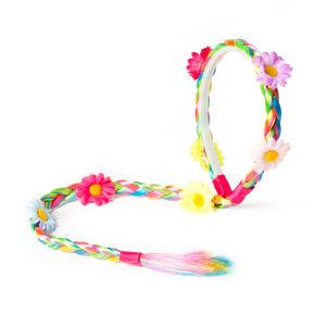 Claire's Club Rainbow Faux Hair Braid Headband,