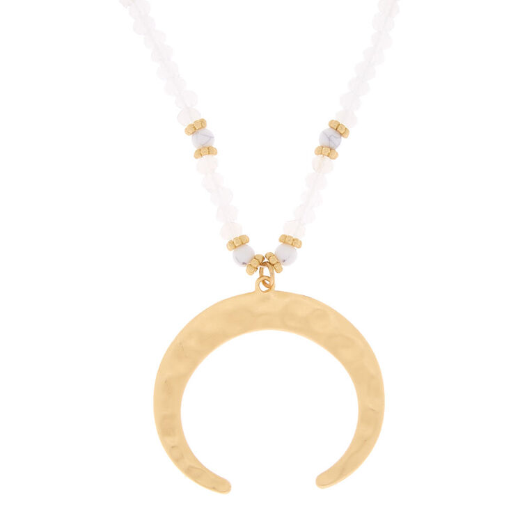 Gold Beaded Horn Long Pendant Necklace,