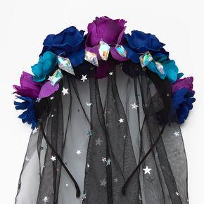 Halloween Flower Crown Celestial Veil Headband - Black,