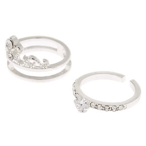 Silver Cubic Zirconia Tiara Stackable Rings - 2 Pack,