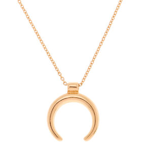 Gold Horn Pendant Necklace,