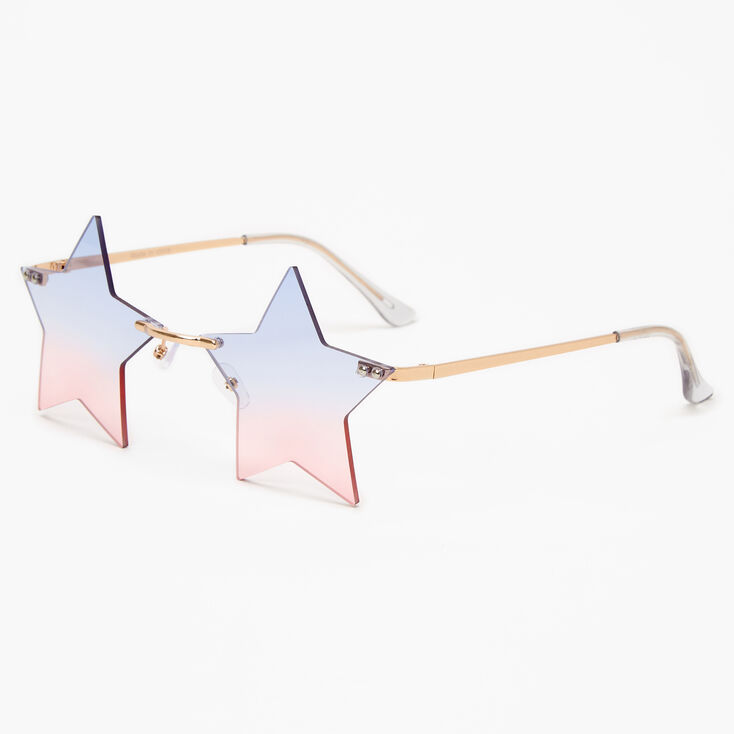 Gold Blue & Pink Ombre Star Sunglasses,