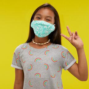 Masque en coton vert menthe à pois avec des cœurs - Enfant: petite taille/taille moyenne,