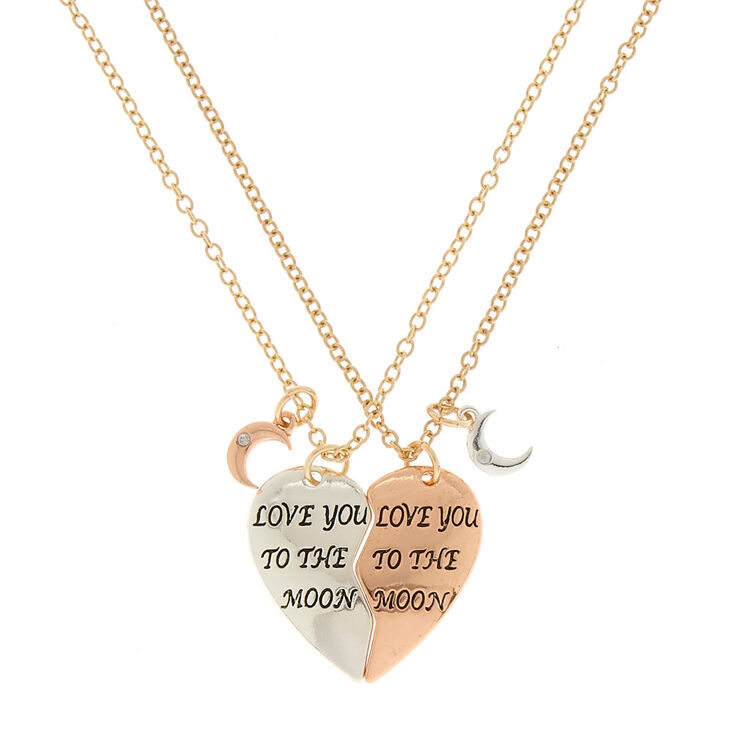 Best Friends Love You To The Moon Pendant Necklaces - 2 Pack,