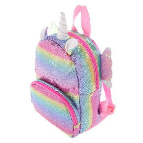 ea6b41e0f Claire's Club Rainbow Flying Unicorn Sequins Backpack