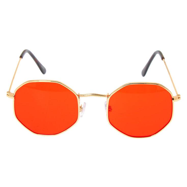 Octagonal Sunglasses - Red,
