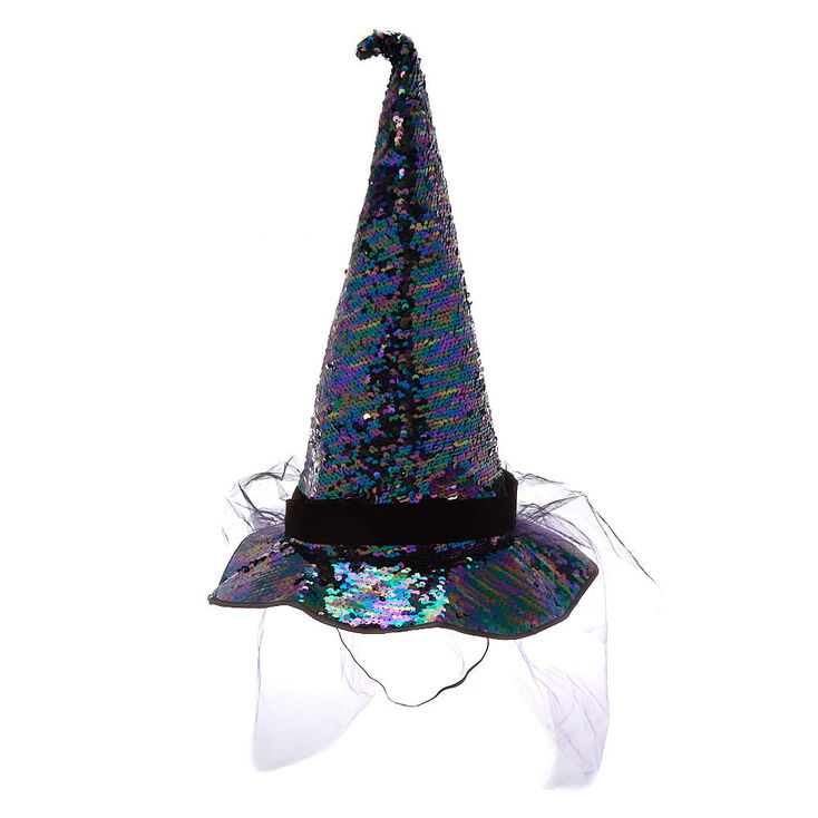 Reversible Sequin Witch Hat - Black,