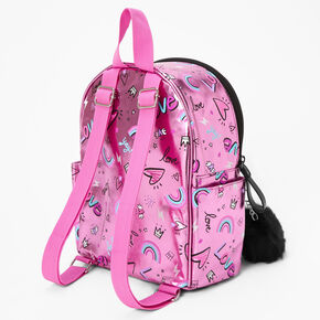 Mini sac à dos holographique «Love» rose,