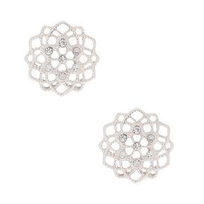 bb9e130cb Silver Filigree and Rhinestone Stud Earrings
