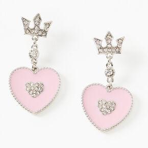 Pendantes cœur couronne strass 4cm - Rose,