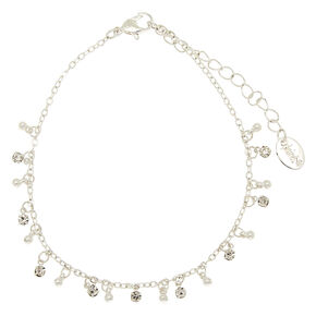 Bracelet de cheville perlé ornementé couleur argentée,