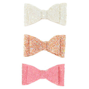 Claire's Club Glitter Bow Hair Clips - 3 Pack,