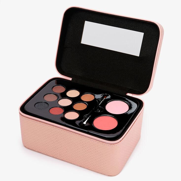Metallic Quilted Travel Case Makeup Set - Blush Pink,
