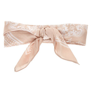 Paisley Satin Bandana Headwrap - Nude,