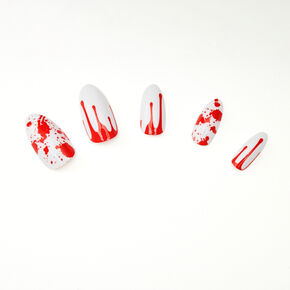 Blood Splatter Stiletto Faux Nail Set - White, 24 Pack,