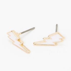 Gold Lightning Bolt Stud Earrings - White,
