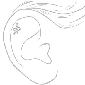 Silver 16G Embellished Snake Cartilage Stud Earrings - 3 Pack,