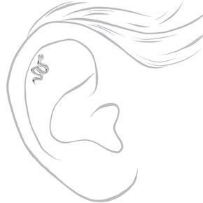 Clous d'oreilles pour piercing de cartilage serpent décorés 1,2mm couleur argentée - Lot de 3,