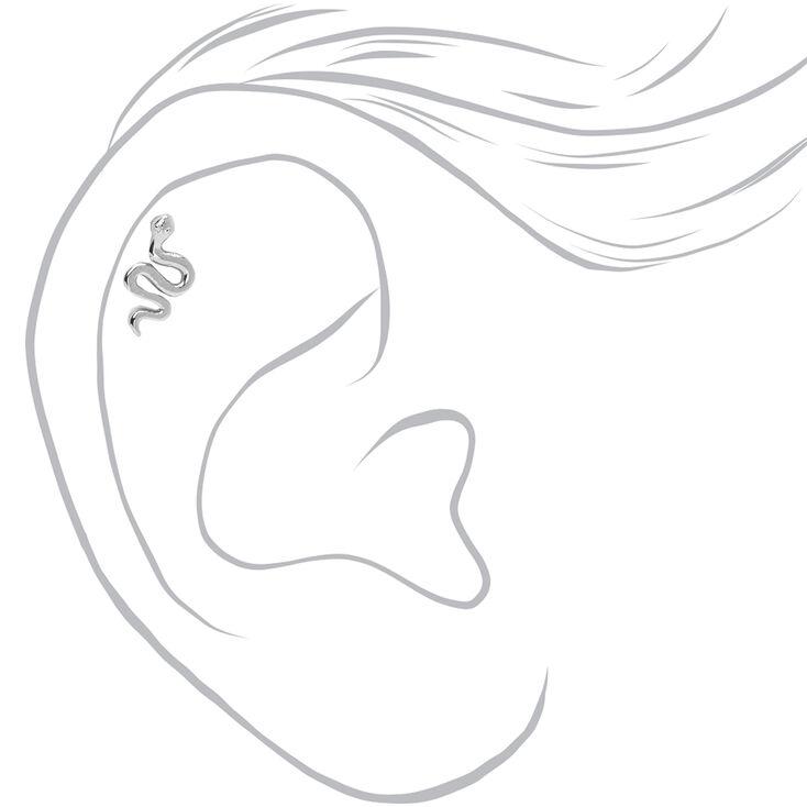 Silver 16G Embellished Snake Cartilage Stud Earrings - 3 Pack,