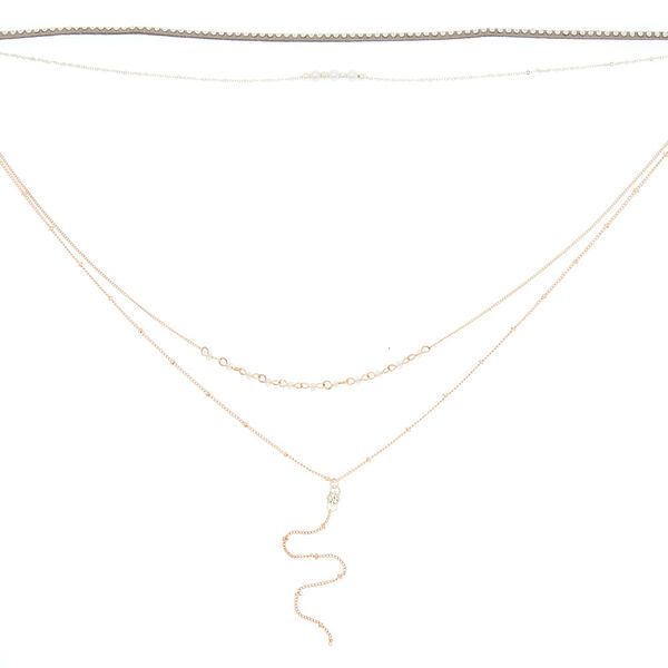 Claire's - mixed metal embellished multi strand necklace - 2