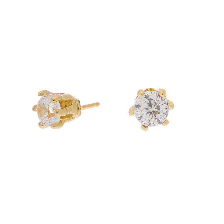 Gold Cubic Zirconia Round Stud Earrings - 2MM,