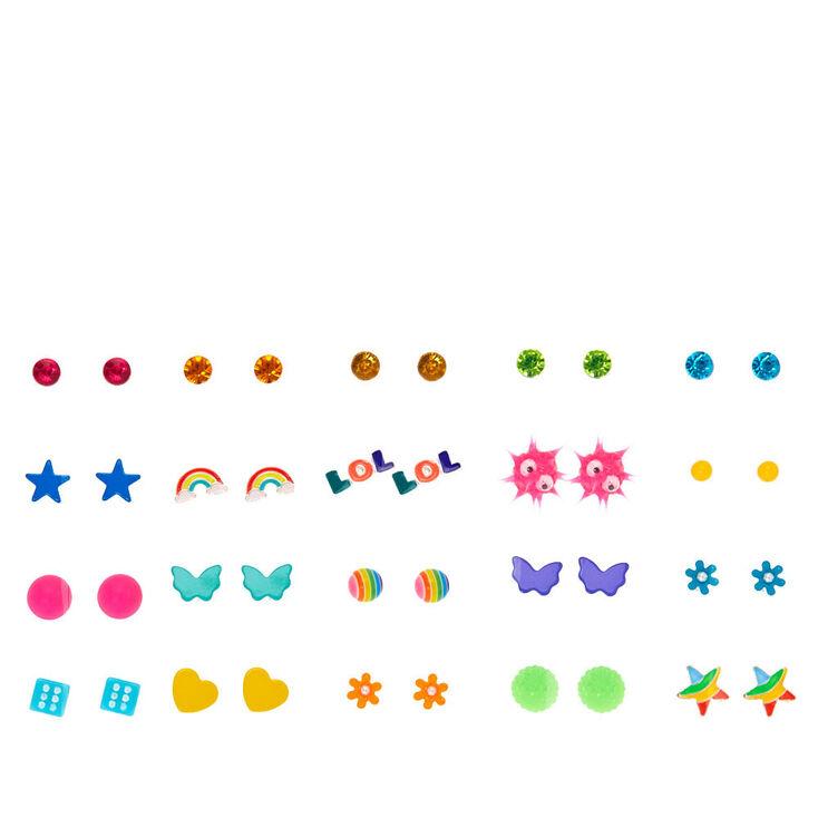 Neon Summer Fun Stud Earrings 20 Pack