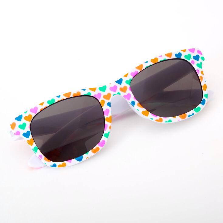 Claire's Club Neon Hearts Retro Sunglasses,