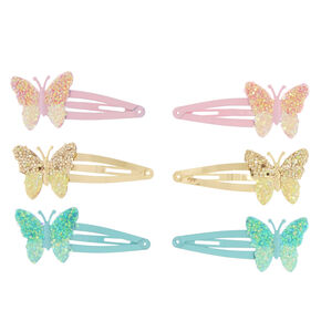Claire's Club Butterfly Snap Hair Clips - 6 Pack,