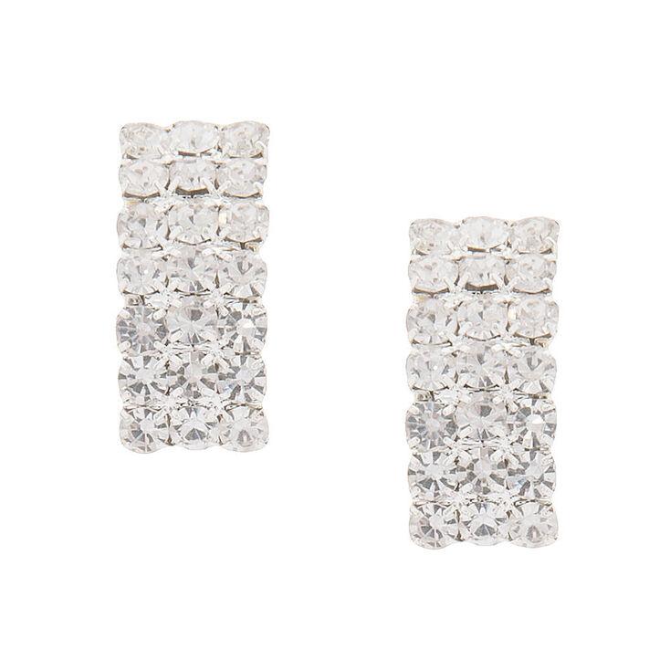 da6c29fbb Crystal Rectangle Stud Earrings   Claire's US