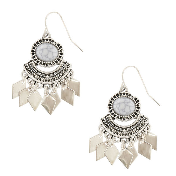 Claire's - marbled geometric drop earrings - 1