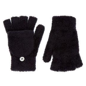878137ead89b60 Fingerless Gloves With Mitten Flap - Black