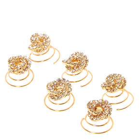 Gold Glass Rhinestone Knot Hair Spinners - 6 Pack,