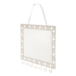 Antique Rectangle Hanging Jewelry Holder - White,