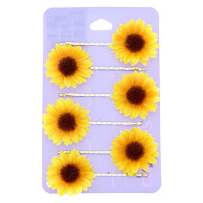 Sunflower Bobby Pins - Yellow, 6 Pack,