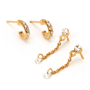 18kt Gold Plated Crystal Chain Hoop & Drop Earrings - 2 Pack,
